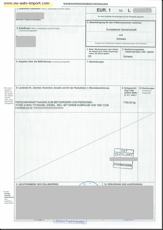 EU-Auto-Direktimport-Ford-S-Max-EUR1-Wahrenverkehrsbescheinigung