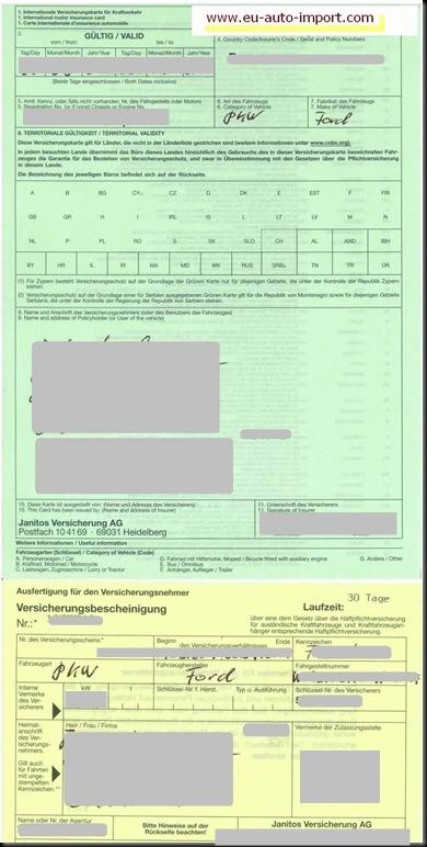 ausfuhr haftpflichtversicherung mit gelber versicherungsbescheinigung deckungskarte ratgeber. Black Bedroom Furniture Sets. Home Design Ideas